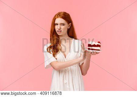 Take It Away, Gross. Ignorant And Picky Spoiled Redhead Birthday Girl Refusing Eating Dessert, Holdi