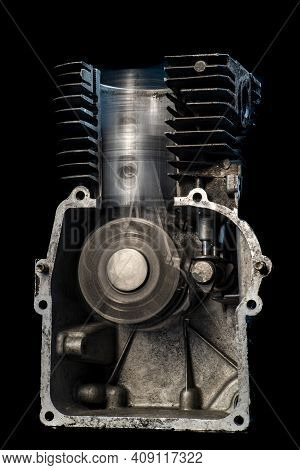 Internal Combustion Engine In Motion. View Of The Piston And Crankshaft In An Internal Combustion En