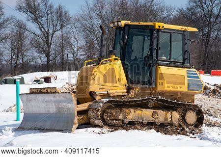 Tractor In The Snow Winter Cold Work Storm Yellow