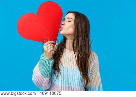 Romance, Love And Tenderness Concept. Feminine Cheerful And Cute Brunette Woman Showing Her Feelings