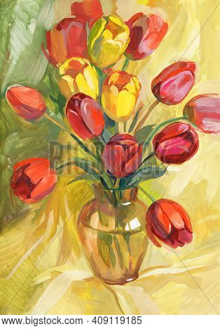 Red And Yellow Tulips In A Vase. Still Life With A Bouquet Of Flowers. Gouache Painting