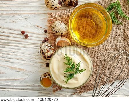 Homemade Mayonnaise, Quail Eggs On Wooden Background