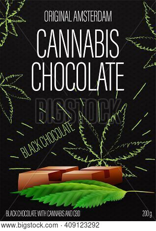 Cannabis Chocolate, Black Package Design With Cannabis Chocolate Bar And Marijuana Leafs In Doodle S