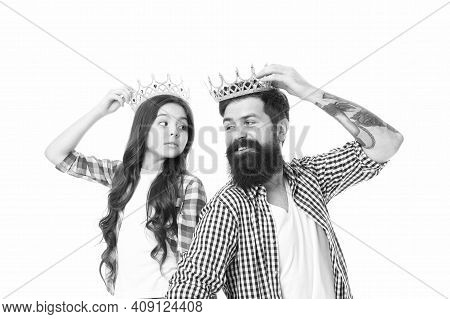 Keep Calm And Be Proud. Proud Family Isolated On White. Small Child And Bearded Man Wear Crowns. Fee