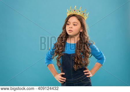 Small Girl In Queen Crown. Feel Herself Like Big Boss. Being An Egoist. Reward For Real Champion. Li