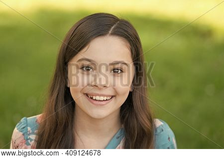 Salon Knows Your Hair Inside Out. Happy Child Smile Summer Outdoor. Small Girl With Long Hairstyle.