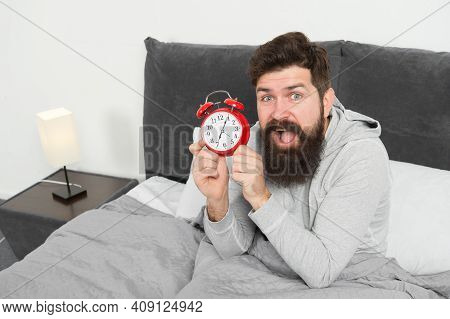 Man Bearded Hipster Sleepy Face Waking Up. Daily Schedule For Healthy Lifestyle. Again Unhappy In Mo