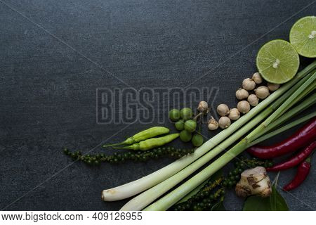 Thai Food Ingredients, Vegetable And Spicy Taste, Thai Food And Healthy Concept
