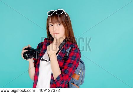 Beautiful Young Asian Woman Thinking Idea Travel Trip Summer Isolated On Blue Background, Asia Girl