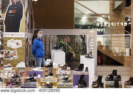 Belgrade, Serbia - October 8, 2020: Female Staff Of A Shoe Store Footwear Boutique Standing Around S