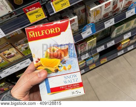 Belgrade, Serbia - February 17, 2021: Milford Tea Logo On One Of Their Boxes Of Teabags Of Fruit Inf