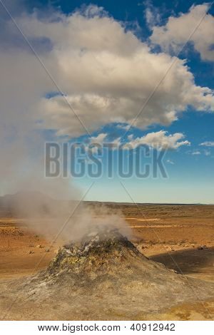 Steaming Fumarole In  Namafjall, Between The Myvatn Lake And Krafla Area, In North Iceland