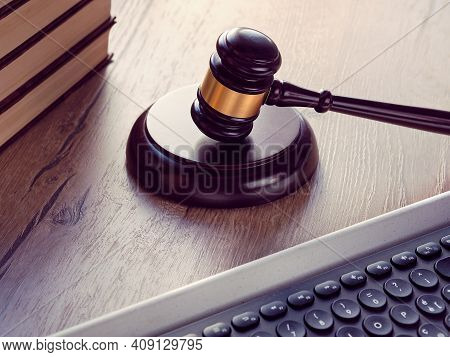 Law Hammer, Computer Keyboard And Stack Of Books. Concept Of Legal Advice, Consultation, Counseling