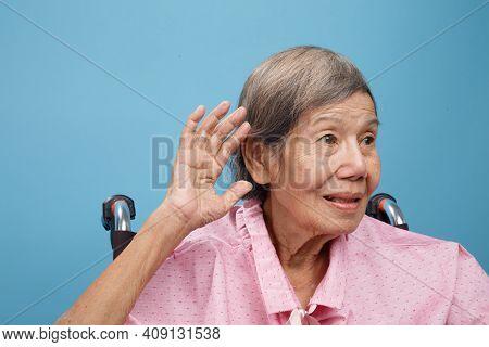 Senior Adult Woman Hearing Loss , Hard Of Hearing