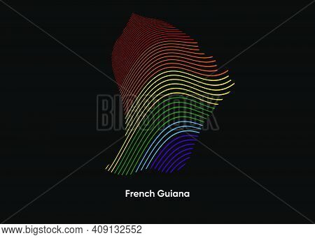 Dynamic Line Wave Lgbt Map Of French Guiana. Twist Lines Lgbt Map Of French Guiana. Political Map Fr