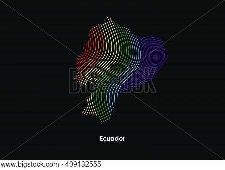 Dynamic Line Wave Lgbt Map Of Ecuador. Twist Lines Lgbt Map Of Ecuador. Political Map Ecuador