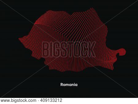 Dynamic Line Wave Map Of Romania. Twist Lines Map Of Romania. Political Map Romania