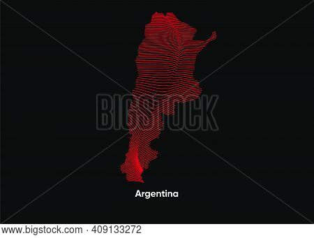 Dynamic Line Wave Map Of Argentina. Twist Lines Map Of Argentina. Argentina Political Map