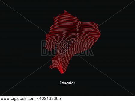 Dynamic Line Wave Map Of Ecuador. Twist Lines Map Of Ecuador. Ecuador Political Map