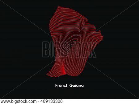Dynamic Line Wave Map Of French Guiana. Twist Lines Map Of French Guiana. French Guiana Political Ma