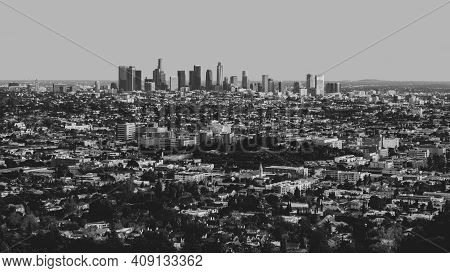Los Angeles California Sprawling Cityscape In Black And White