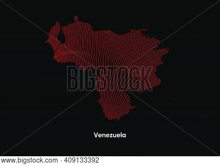 Dynamic Line Wave Map Of Venezuela. Twist Lines Map Of Venezuela. Political Map Venezuela