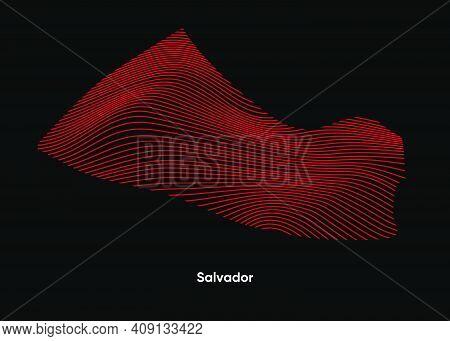 Dynamic Line Wave Map Of Salvador. Twist Lines Map Of Salvador. Salvador Political Map