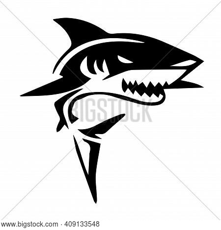 Shark Tattoo Mockup. Shark T-shirt Print. Vector Image