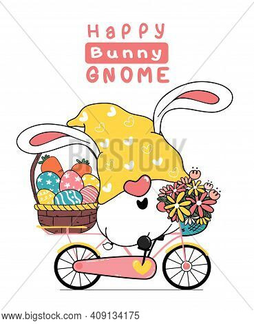 Cute Easter Gnome Bunny Ears Cartoon On Pink Sweet Floral Bicycle With Easter Egg Basket. Happy East