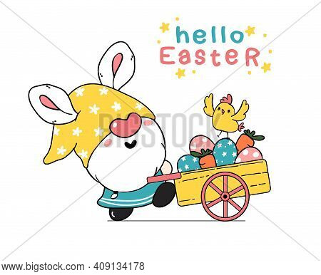 Cute Easter Gnome Bunny Ears Cartoon And Yellow Chick Baby In Pink Truck Car With Easter Eggs. Happy