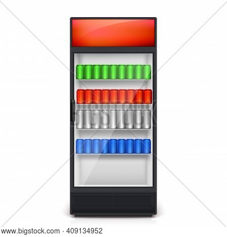 Vending Machine Isolated On White Background. Colorful Cans Of Drinks Are On The Shelves Of The Vend