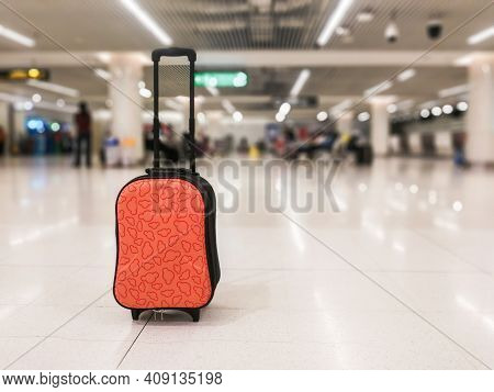 Luggage Airport With Blur Background Of Terminal Airport. Bag Airport.