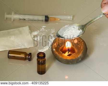 Substance Abuse With Ketamine, Candle, Syringe. Substance, Narcotic, Habit-forming Substance Concept