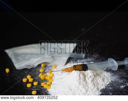 Substance Abuse With Ketamine And Syringe.  Addictive Substance, Narcotic, Habit-forming Substance C