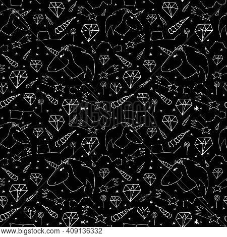 Dreamlike Hand-drawn Seamless Pattern. White Print On Black Background