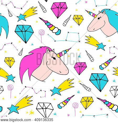 Dreamlike Hand-drawn Seamless Pattern. Color Print On White Background