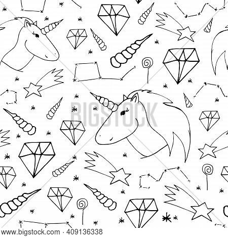 Dreamlike Hand-drawn Seamless Pattern. Black Print On White Background