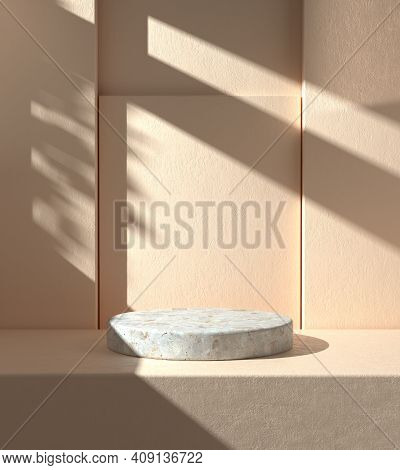 Minimal Mockup Podium With Sunshade Shadow On Beige Plaster Wall Abstract Background 3d Render