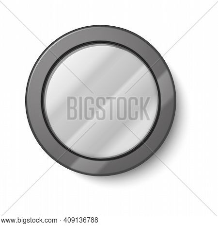 Realistic Round Mirror. Circle Glass Shapes With Gray Metal Frame. Hanging On Wall Blurry Reflective