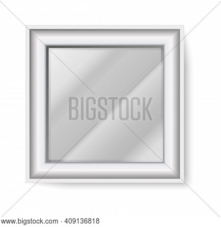 Square Mirror. Realistic Glass Shape With White Frame And Light Reflection. Front View Of Hanging On