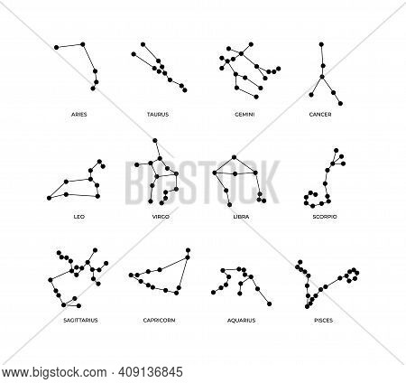 Zodiac Signs. Abstract Sketches Of Astrological Symbols. Schematic Arrangement Of Stars In Constella