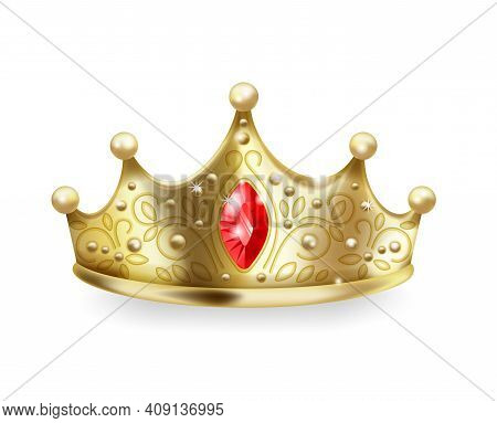Golden Crown. 3d Realistic Gold Queen Or Princess Sign, Luxury Head Accessory, Monarch Majestic Jewe