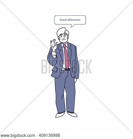 Multilingual Man. Cartoon Character With Speech Bubbles Talking Different Languages. Isolated Male S