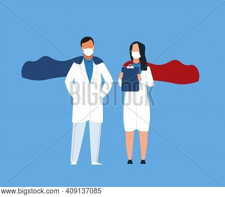 Superhero Doctors. Cartoon Medical Workers Wearing Capes With Uniform And Protective Masks. Doctor O