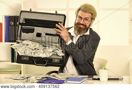 Bank Account. Credit And Cash Concept. Businessman With Cash. He Loves Money. More Sales Without Ext
