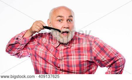 Man Bearded Barber Handsome Hairstylist Use Tool Styling Beard. Male Haircut. Comb Hair. Hairstylist
