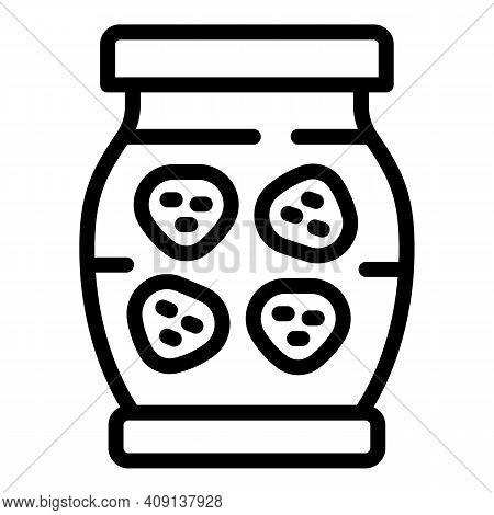 Preserves Jar Icon. Outline Preserves Jar Vector Icon For Web Design Isolated On White Background