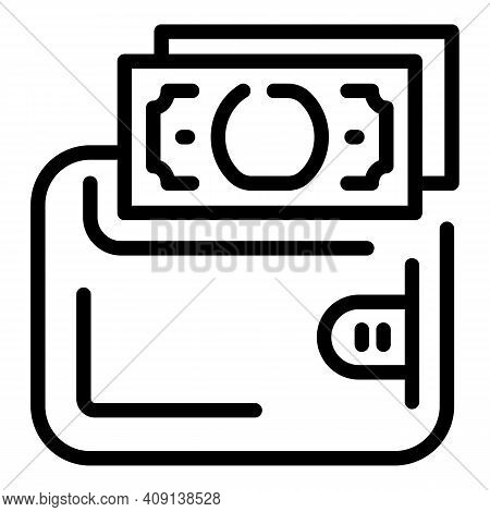 Wallet Dollar Icon. Outline Wallet Dollar Vector Icon For Web Design Isolated On White Background