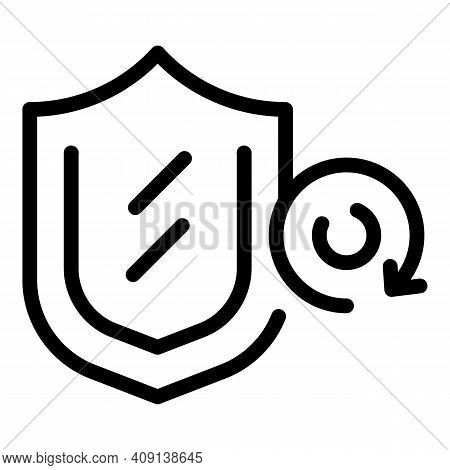 Shield Purchase Icon. Outline Shield Purchase Vector Icon For Web Design Isolated On White Backgroun