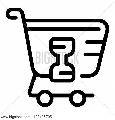 Shopping Delay Time Icon. Outline Shopping Delay Time Vector Icon For Web Design Isolated On White B